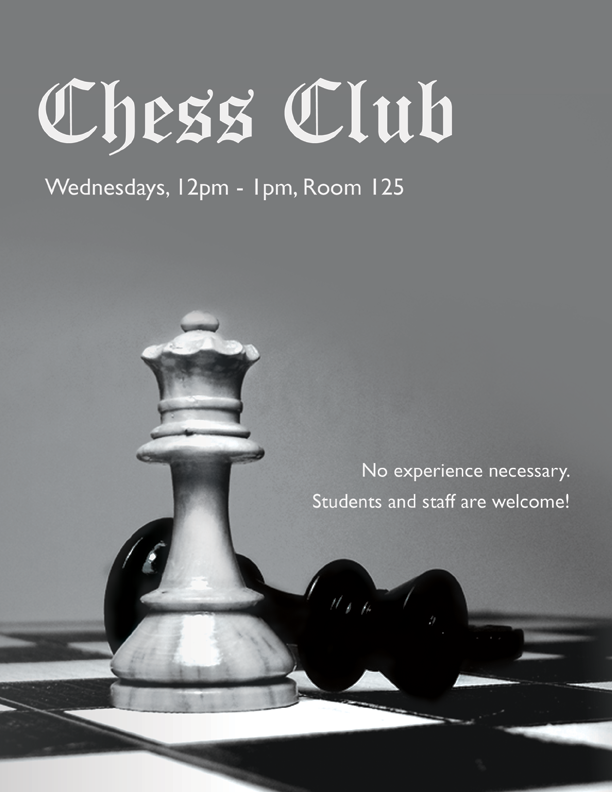 Chess Club Poster Jasmine Vesque