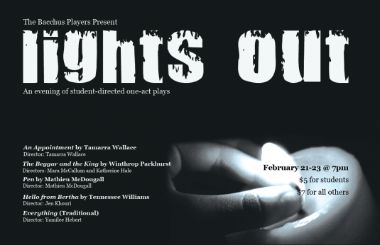 Image of a hand extinguishing a candle flame with text describing the plays at the event, Lights Out
